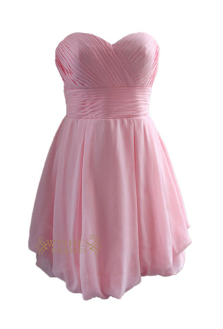 Simple Pink Chiffon Bridesmaid Dress For Wedding Am88