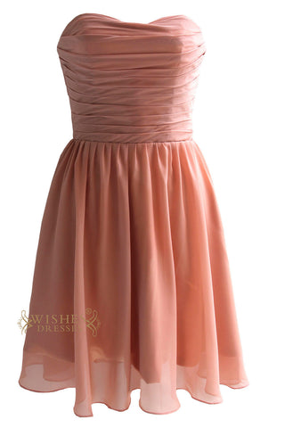 Strapless Knee Length Bridesmaid Dress Am90
