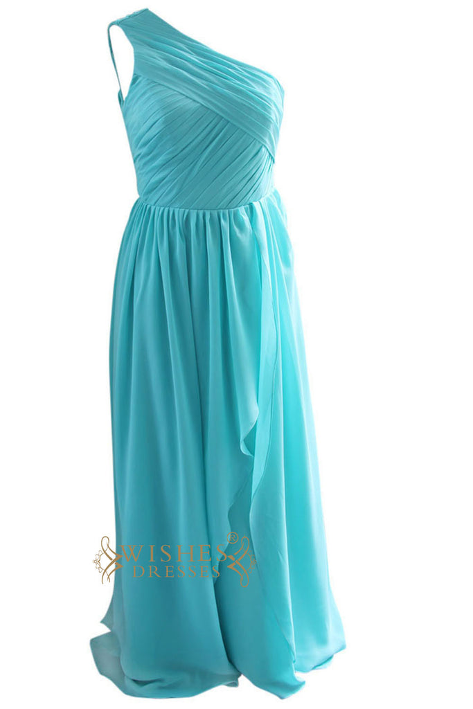 A-line Turquoise Chiffon Floor length Bridesmaid Dress Am92