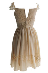 Knee Length Chiffon Bridesmaid Dress with Flower Detail  Am94