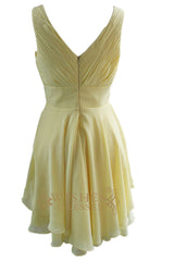Overall Ruched V Neckline Daffodil Chiffon Bridesmaid Dress Am95