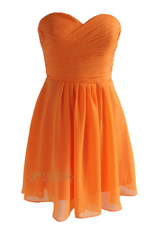 Knee Length Strapless Orange Bridesmaid Dress AM98