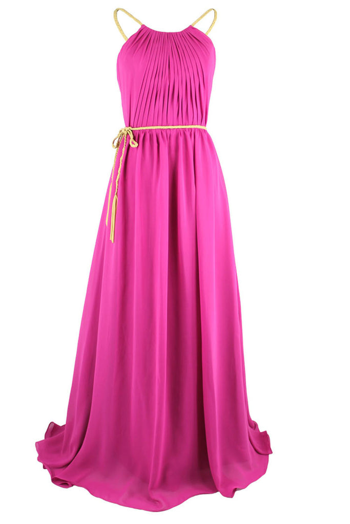 A-line Open Back Spghetti Straps Fuchsia Chiffon Formal Dresses Am99