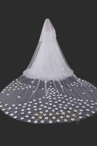 3.8 m White Long Veil With  3D Flower V17006