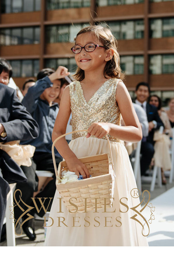 Gold Sequins Dress for Kids/ Gold Flower girl Dresses AM115F