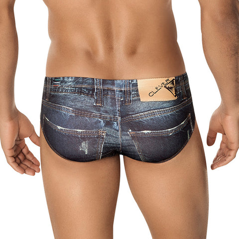 Clever Moda Latin Brief Denim Jean Blue Men's Underwear