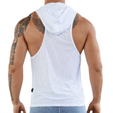 Clever Moda Hooded Tank Top Aster White Men's Sportswear