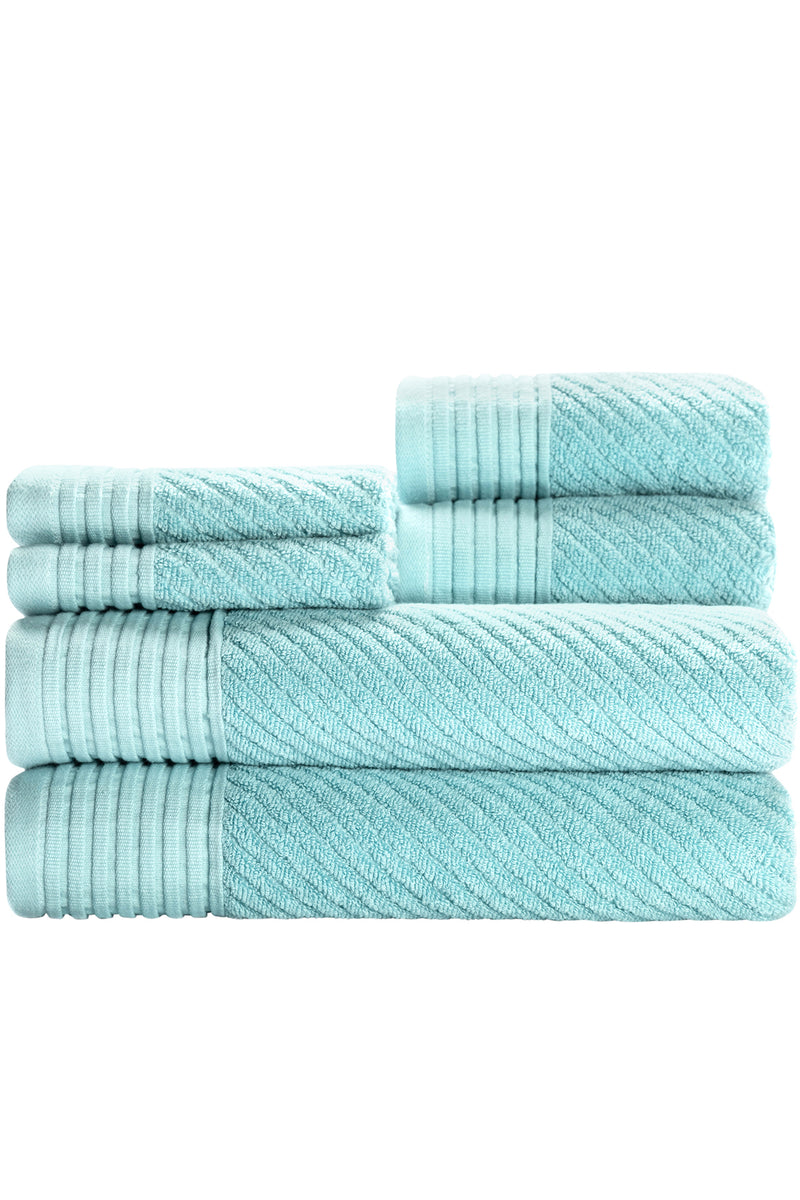 Beacon 6-Piece Towel Set - CLASSIC TWILL with a MODERN TWIST & HIGHLY ABSORBENT TOWELS