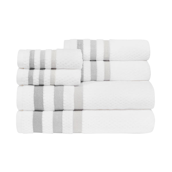 *NEW* Crinkle MODERN, STYLIZED,OMBRE BORDERED 6-Piece Towel Set