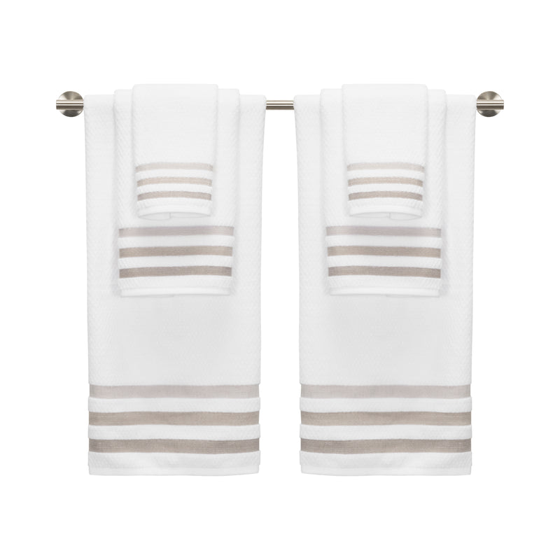 *NEW* Crinkle MODERN, STYLIZED,OMBRE BORDERED 6-Piece Towel Set White/Neutral