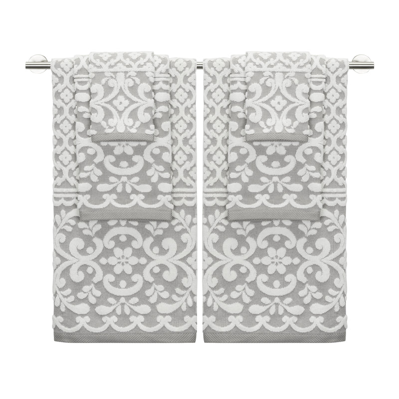 Emma 6-Piece Towel Set ** NEW COLOR GREY IVORY