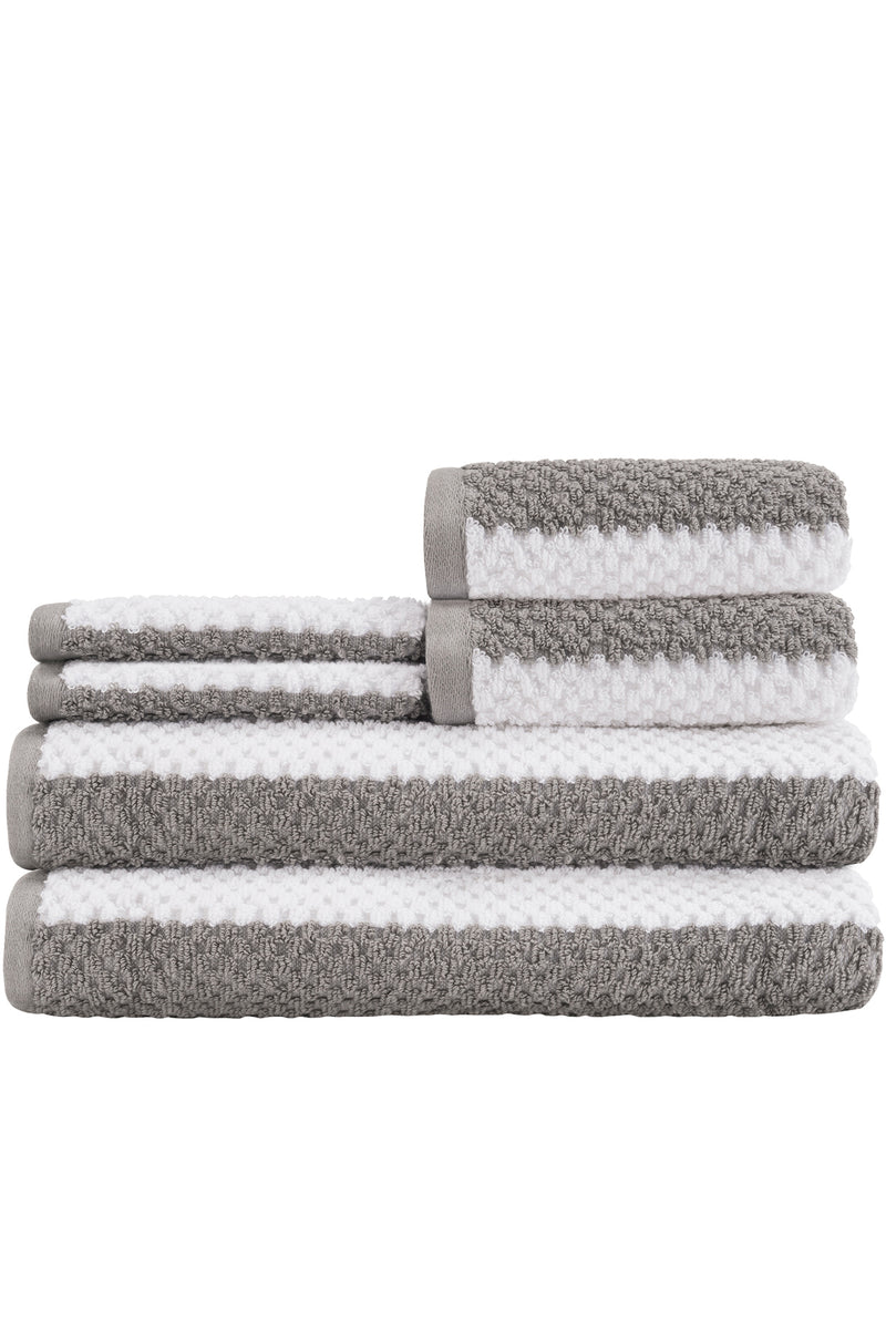CLASSIC RUGBY Stripes with a MODERN & FUN TWIST - 6-Piece Towel Set