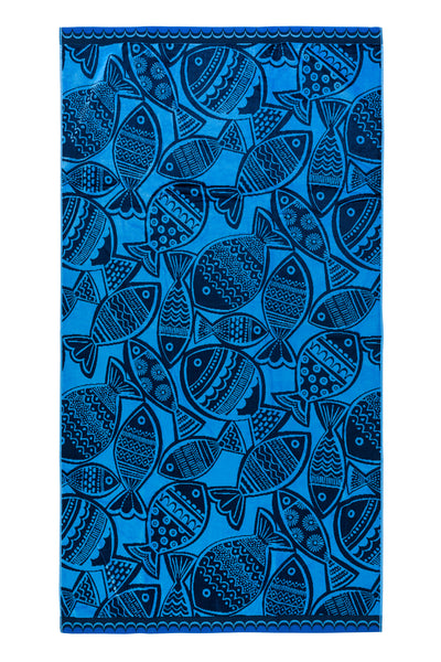 Woodcut Fish Beach Towel