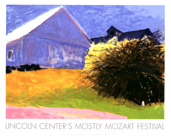 Barn and Forsythia IV, Mostly Mozart Festival Poster, 2003