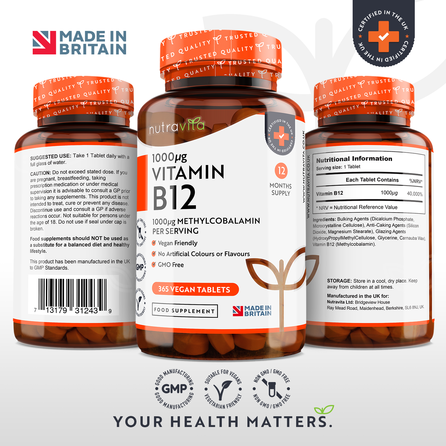 Vitamin B12 1000mcg 365 Vegan Tablets