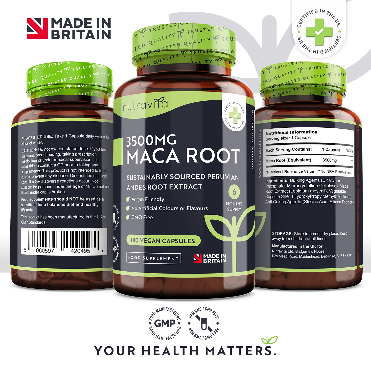 Maca Root 3500mg 180 Vegan Capsules