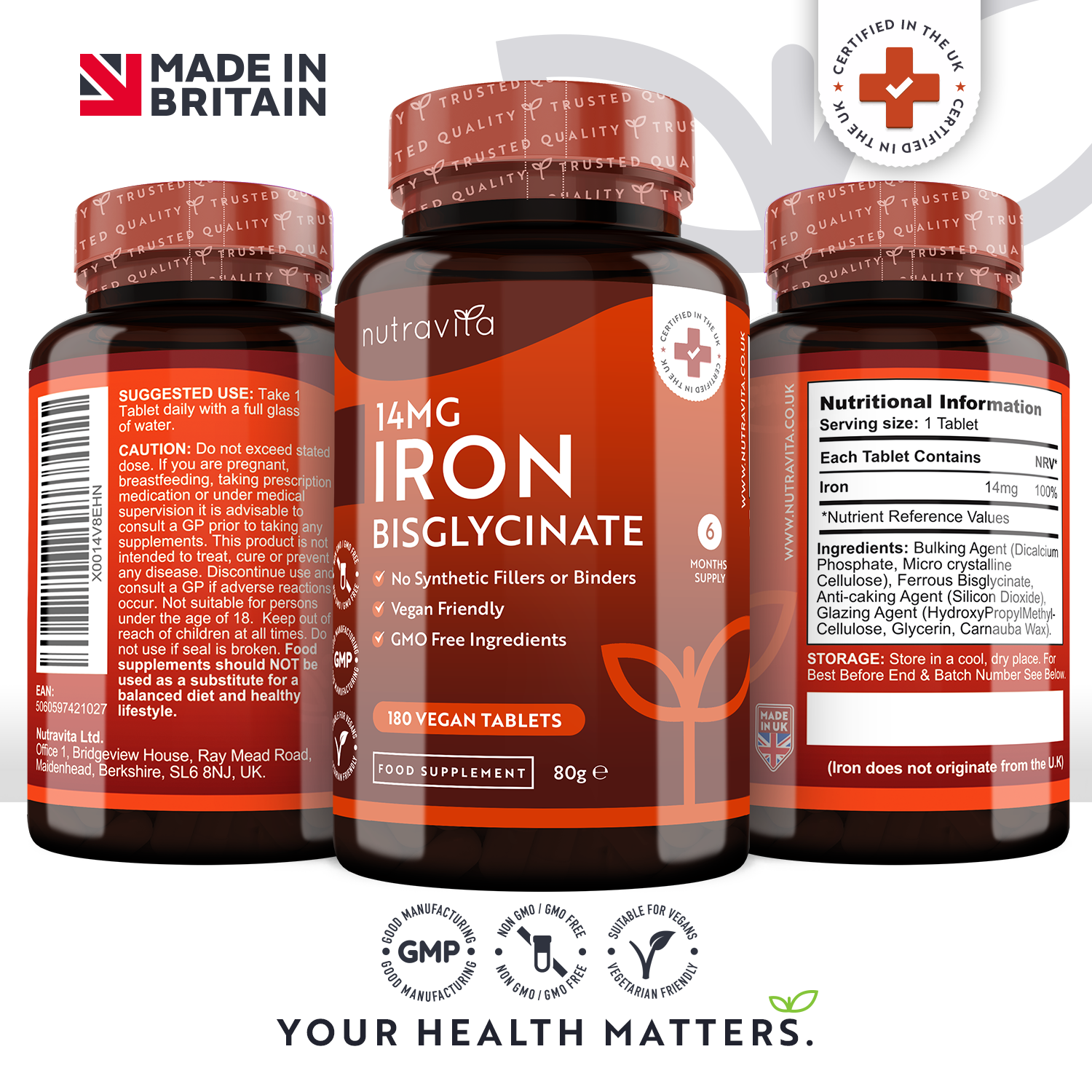 Iron Bisglycinate 14mg 180 Vegan Tablets