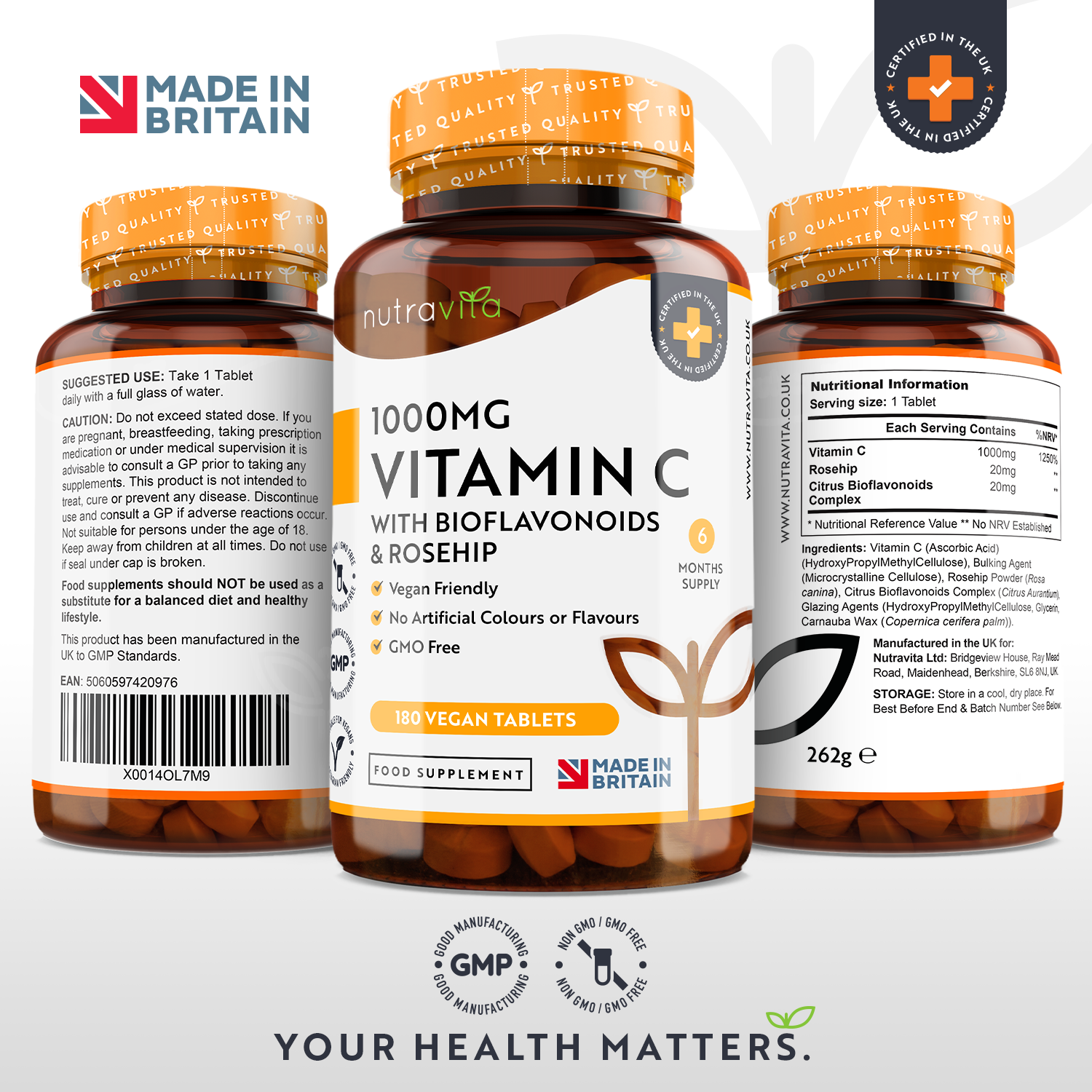 Vitamin C 1000mg with Bioflavonoids & Rosehip 180 Vegan Tablets