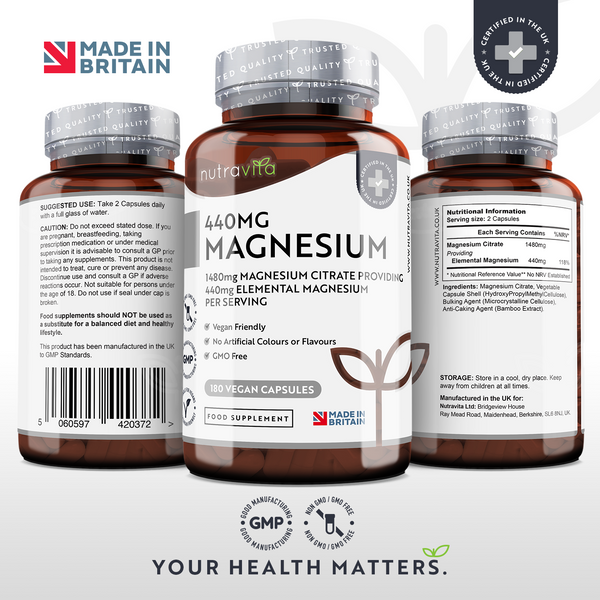 Magnesium Citrate 1480mg with 440mg Elemental Magnesium