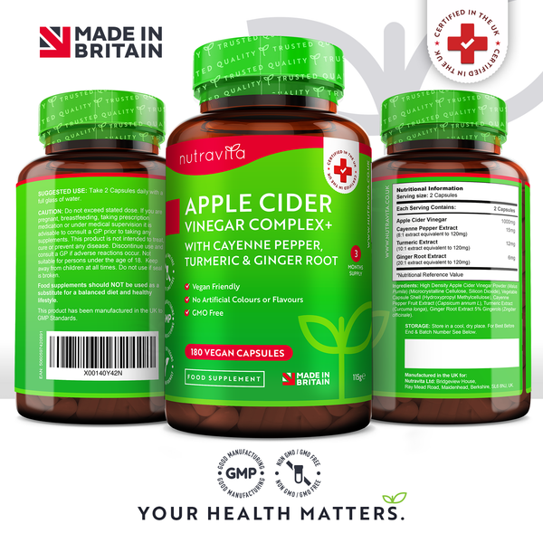 Apple Cider Vinegar Complex - 180 Vegan Capsules with Added Cayenne Pepper, Turmeric and Ginger Root