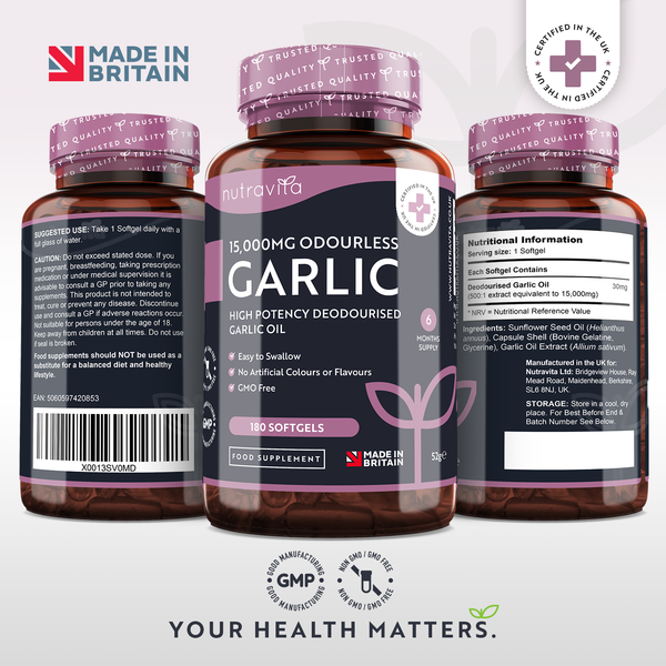Garlic Soft Gel Capsules 15,000mg Odourless Garlic Oil Extract 6 Months Supply