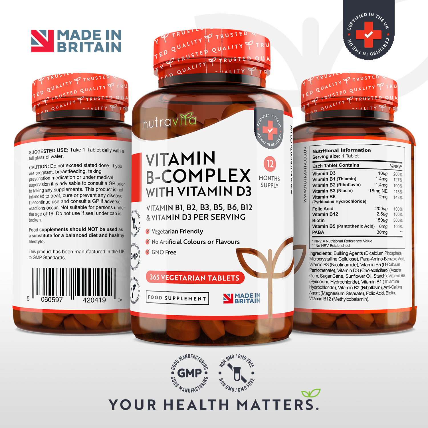Vitamin B Complex (8xB's) enriched with Vitamin D3