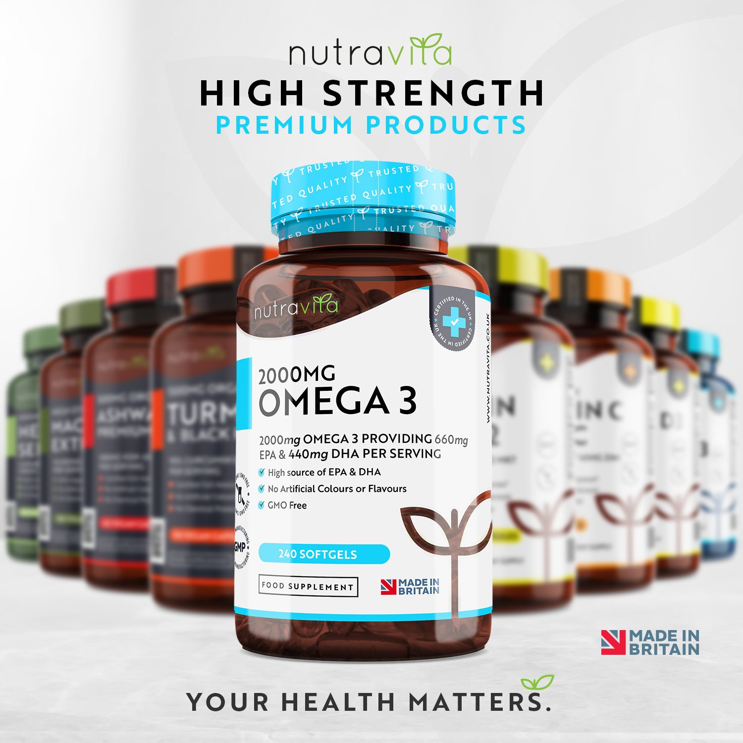 Omega 3 2000mg Pure Fish Oil - 240 Soft Gels