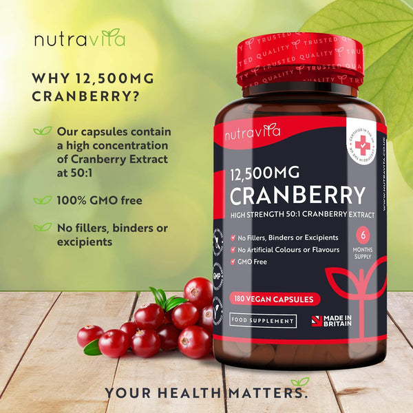Cranberry Extract 12,500mg  – 180 Vegan Capsules - 6 Month Supply