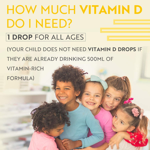 Vitamin D3 Drops for Children 60ml –  (400 IU/10mcg per Drop) (2000 D3 Drops per Bottle)