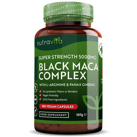 Black Maca Root Complex 5000mg - Vegan Capsules