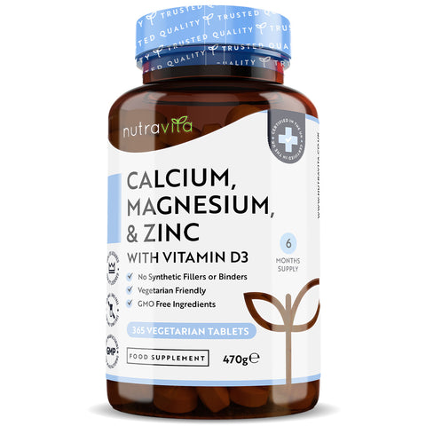 Calcium Magnesium Zinc & Vitamin D3 - 365 Vegetarian Tablets