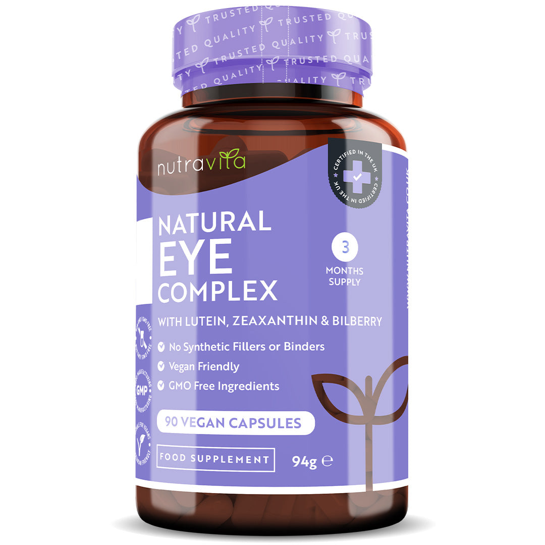 Natural Eye Complex 90 Vegan Capsules with Bilberry, Lutein & Zeaxanthin.