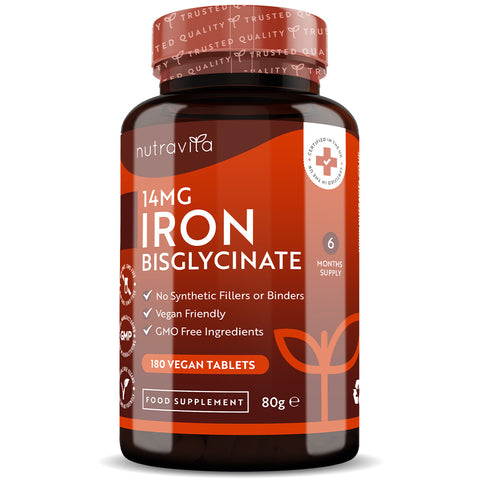 Iron Bisglycinate 14mg – 180 Vegan Tablets
