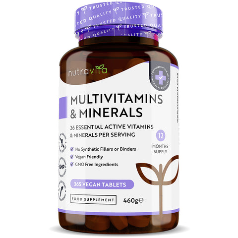 Multivitamins Complex with 26 Essential Vitamins & Minerals - 365 Vegan Tablets - 1 Year Supply