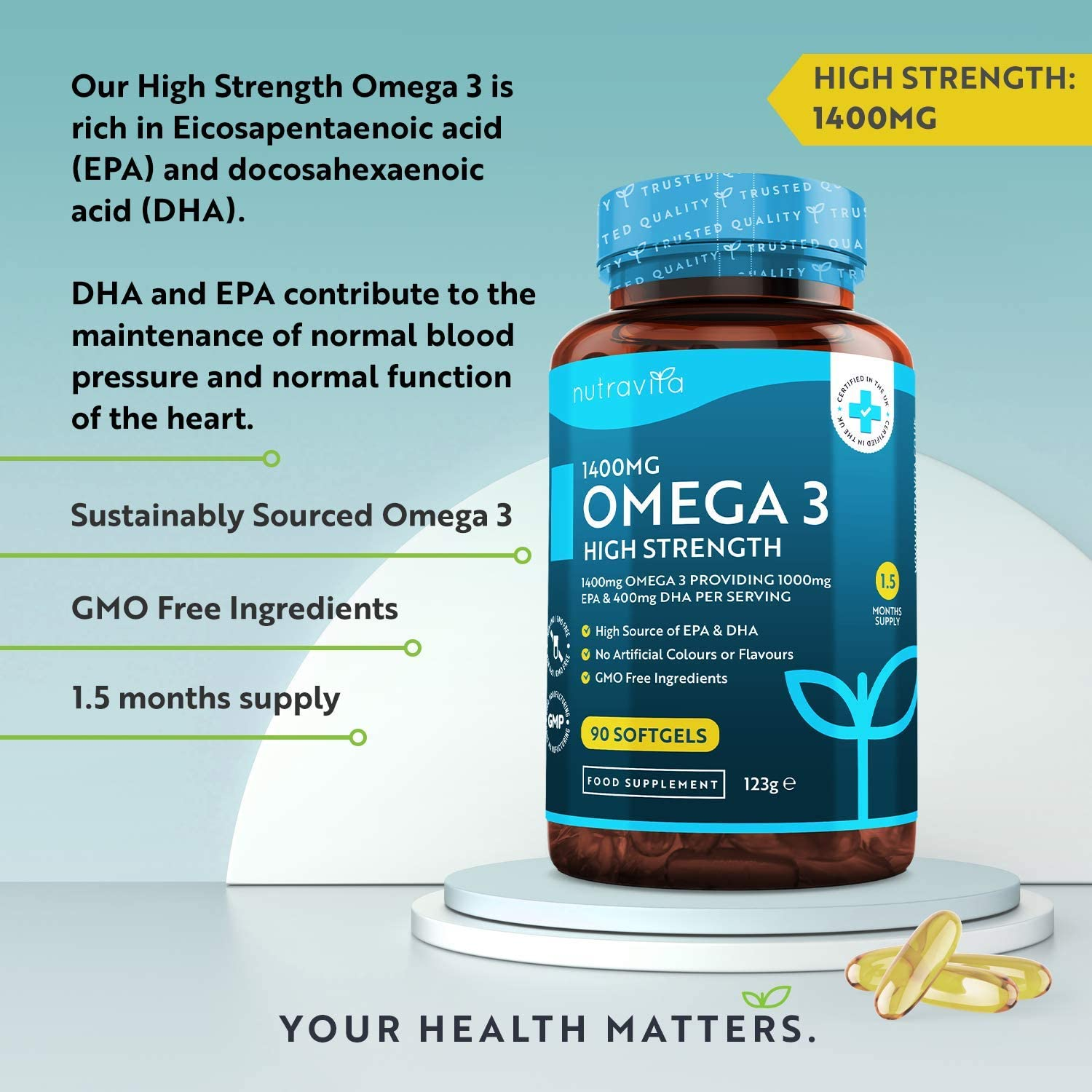 Omega 3 High Strength 1400mg 90 Softgels