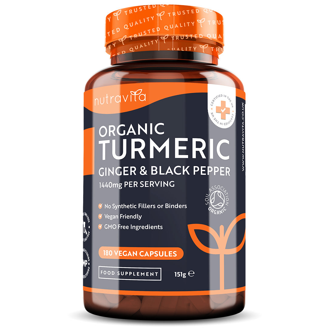 Organic Turmeric with Black Pepper & Ginger 180 Vegan Capsules