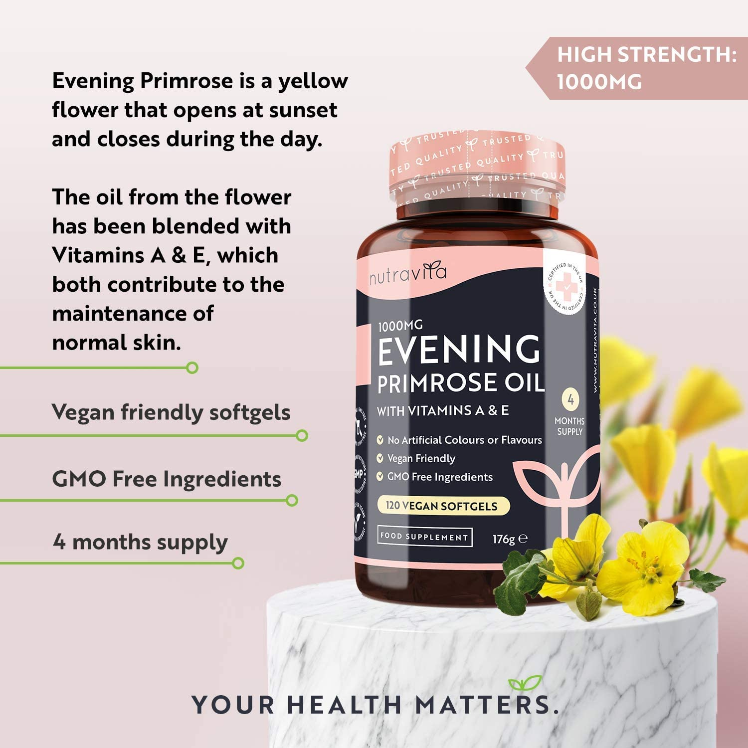 Evening Primrose Oil 1000mg with Vitamins A & E 120 Vegan Softgels