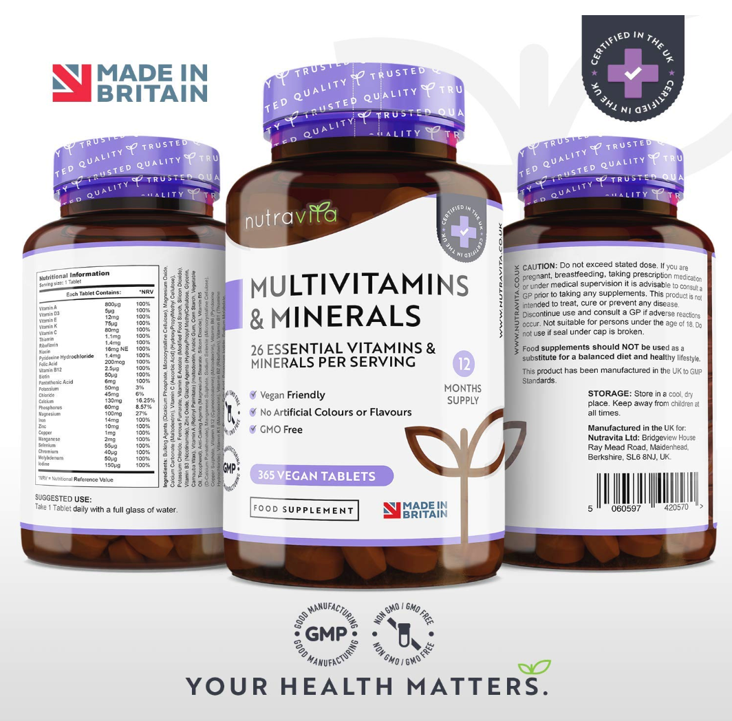 Multivitamins - 26 Essential Ingredients 365 Vegan Tablets