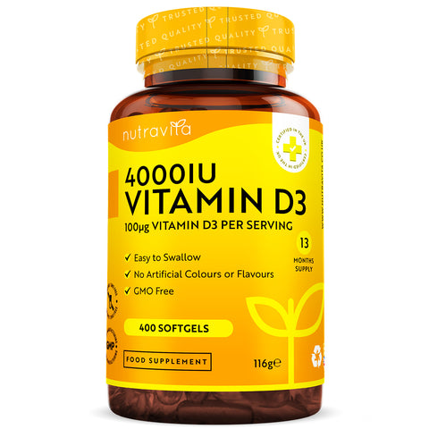 Vitamin D3 4000IU Softgel Capsules 400 Days Supply
