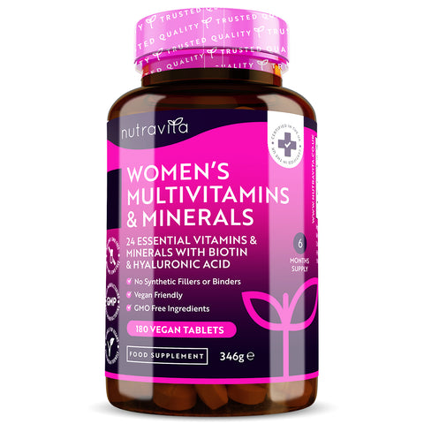 Women's Multivitamins with Biotin and Hyaluronic Acid - 180 Vegan Tablets