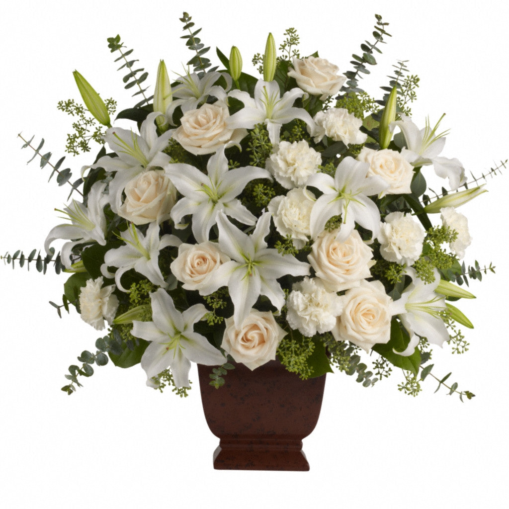 (display image: Loving Lilies and Roses Bouquet)
