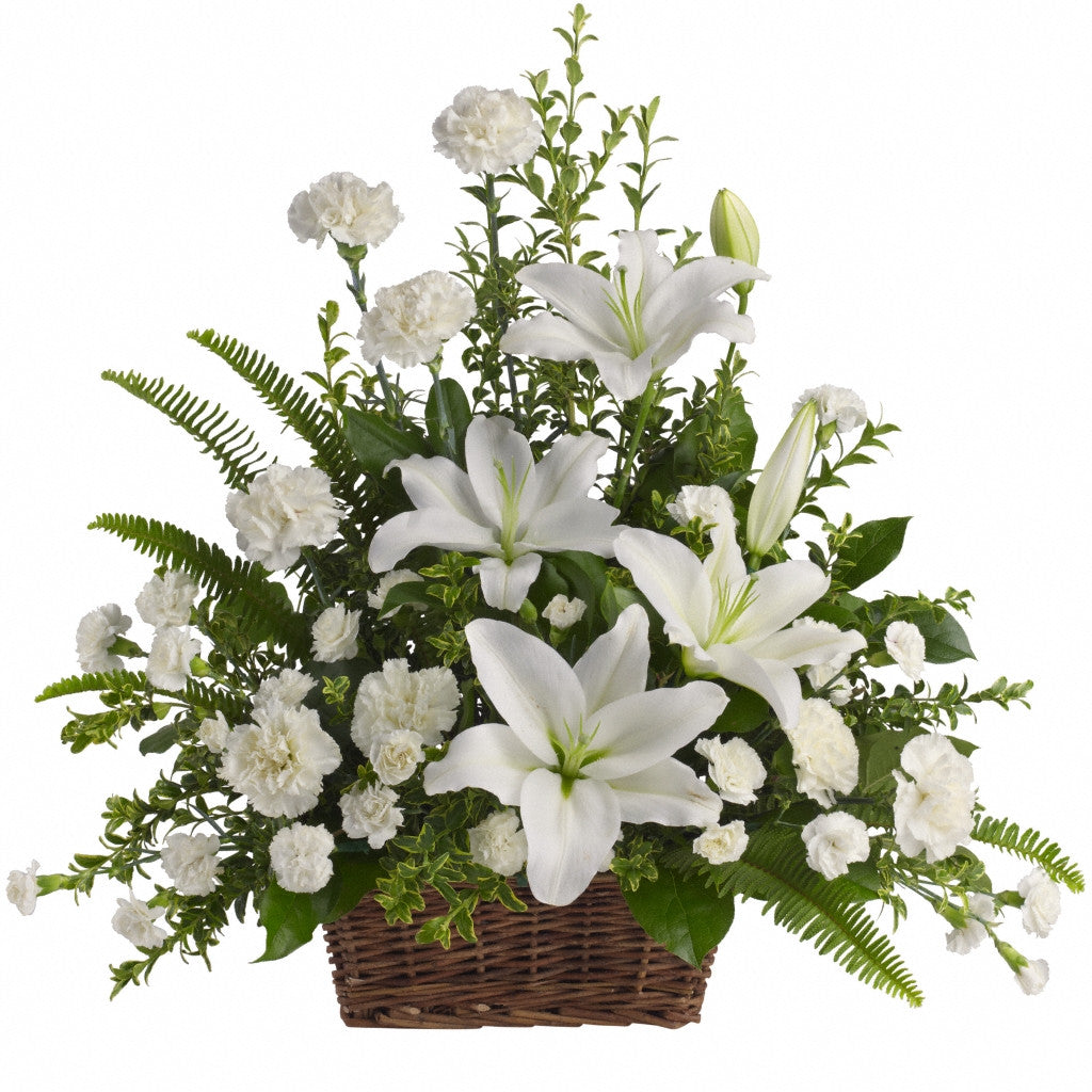 (display image: Peaceful White Lilies Basket)