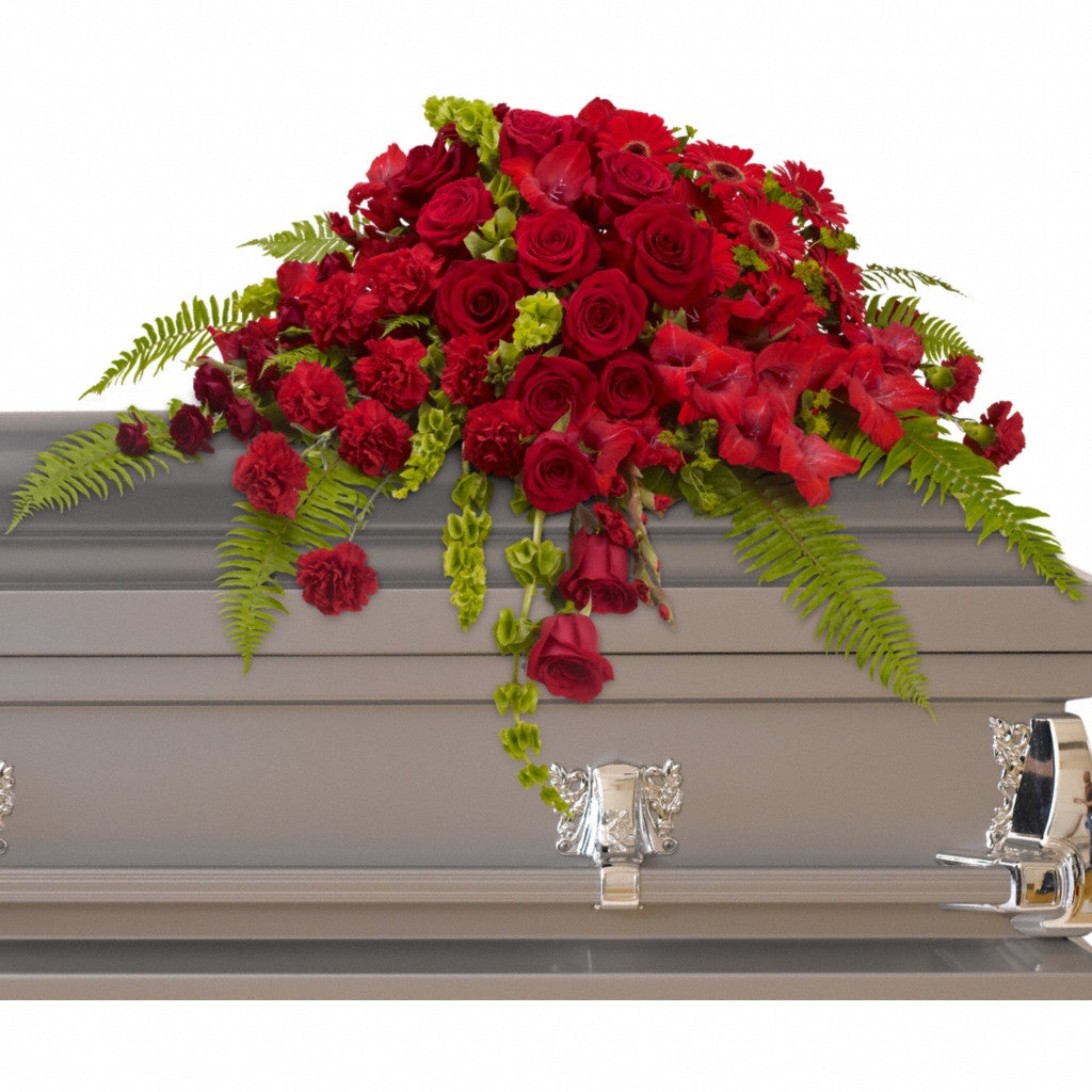 (display image: Red Rose Sanctuary Casket Spray)