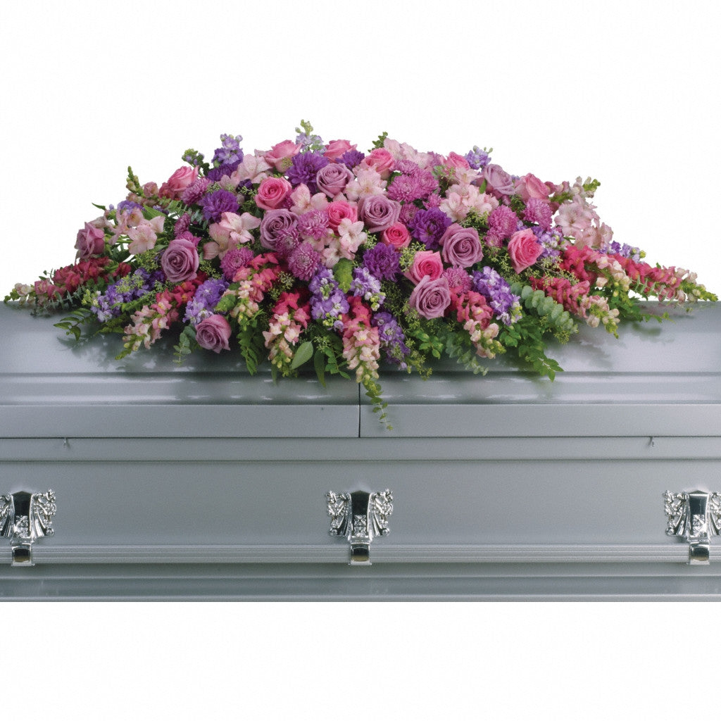 (display image: Lavender Tribute Casket Spray)