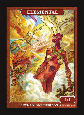 Limited Edition Elemental (Young Pyromancer) Token for MTG (by Richard Kane Ferguson)