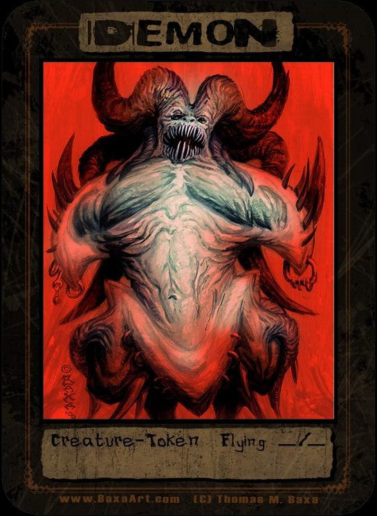 Demon Red Ice Token for MTG (Thomas M. Baxa) Token Baxa Token - Cardamajigs