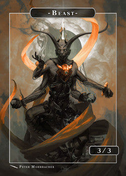 Beast Dark Token for MTG (Peter Mohrbacher) Token Angelarium 2 - Cardamajigs