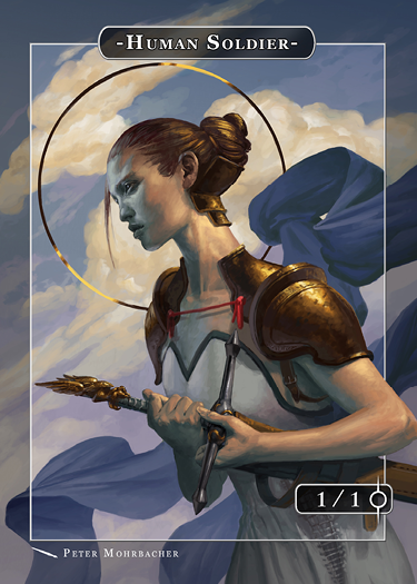 Human Soldier Token for MTG (Peter Mohrbacher) Token Angelarium 2 - Cardamajigs