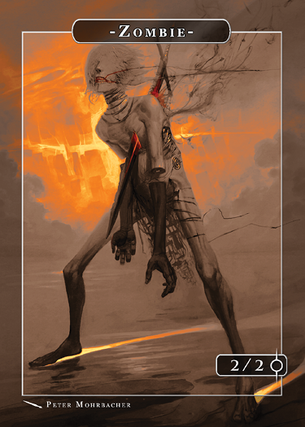 Zombie Af Dawn Token for MTG (Peter Mohrbacher)