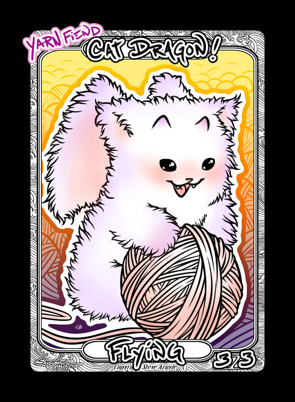 Cat Dragon (Yarn Fiend) Token for MTG (Steve Argyle) Token Steve Argyle 2 - Cardamajigs